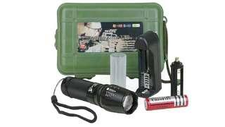 PROBE SHINY X800 Zoomable XML T6 LED Tactical Police Flashlight+18650 Battery+Charger+Case