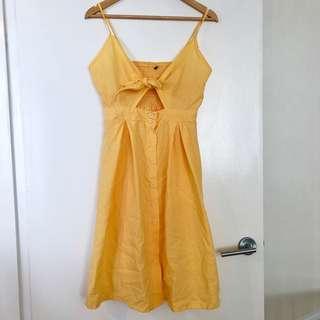 Brand new summer yellow front tie spaghetti strap dress