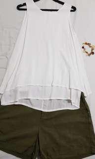 [$20 GRAB BAG] White Sleeveless Shirt & Khaki Shorts & Wristlet