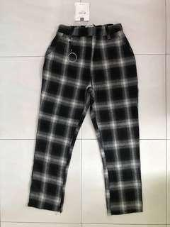 [#MYCYBERSALE] Black checkered long pants