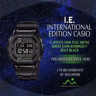 CASIO INTERNATIONAL EDITION G SHOCK FULL METAL SERIES MATT BLACK GMW-B5000GD-1