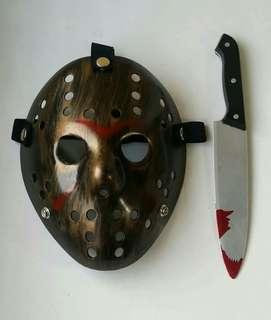 Party Mask Jason Voorhees Mask With Bloody Knife Set