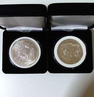 🇲🇾 1976 Malaysia RM15 RM25 Commemorative Silver Coin Sets