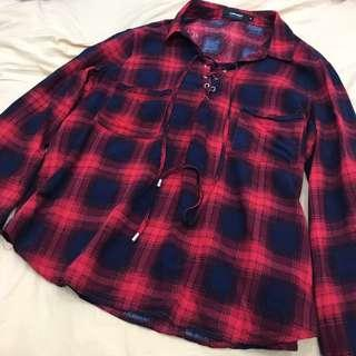 🚚 TEMT Checkered Red Flannel Shoelace Top