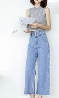 🚚 二手 韓版 牛仔寬褲 直筒寬褲 學生流蘇 學院風 BF港味九分褲