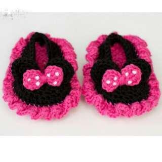 Sepatu rajut bayi newborn minnie mouse handmade