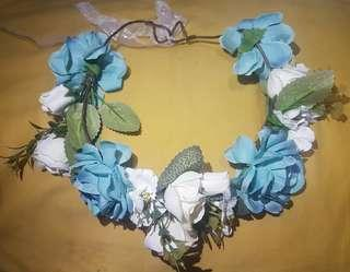White and Blue Floral Crown Headdress/Hair Accessory for Ladies