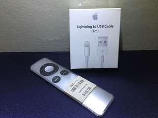 Apple lightning to USB cable and Apple Remote