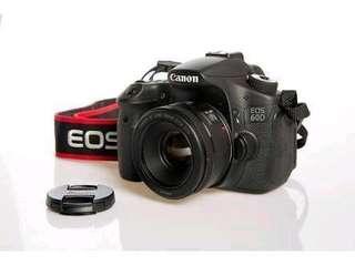 🚚 Canon 60D camera body // Canon f1.8 50mm lens
