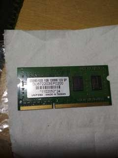 Ram DDR3 1gb (Laptop)
