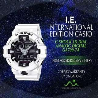 CASIO INTERNATIONAL EDITION G SHOCK WHITE 3D DIAL GA700-7A