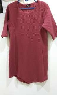 Hardware Maroon Texture Dress