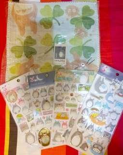 Totoro 龍貓 正版 手巾仔 及貼紙四張