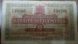 Rare. Straits Settlements 10 cents Note. Years 1919
