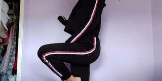 Zaful Black Stripe Track Suit Set