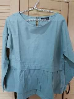 Blouse denim peplum blue