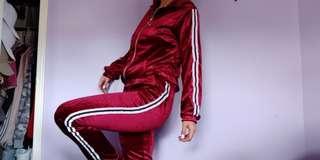 Zaful Red Velvet Velour Track Suit Set