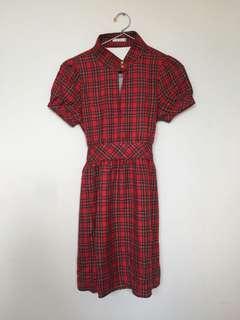 (REPRICE) Tartan Red Dress Cute