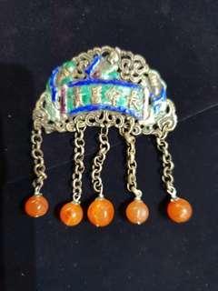 Antique Silver/ Enamel Ornament.