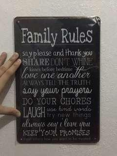 Family Rules - Plate