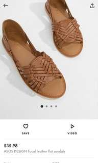 ASOS Leather Sandals in Tan SIZE EU 38 UK 5