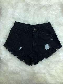 Black ripped denim highwaist shorts