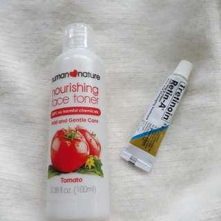 Toner and cream for acne and marks