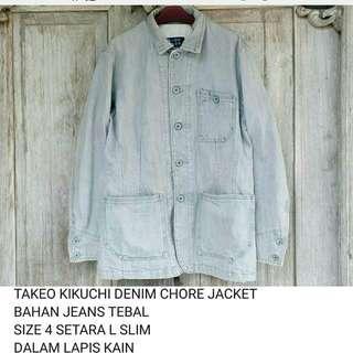 Jaket chore denim takeo kikuchi not trucker levis uniqlo