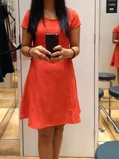 H&M Coral Red Fit & Flare Dress