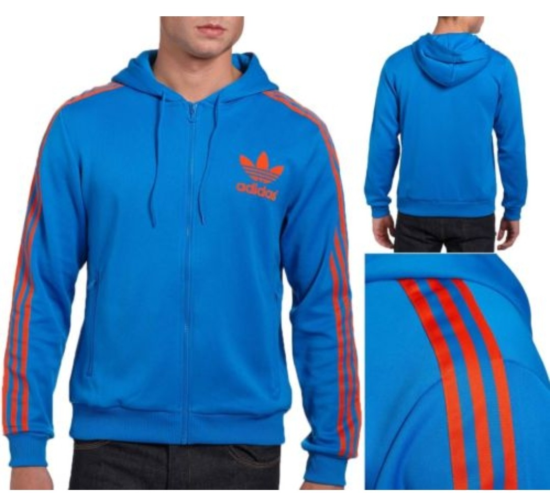 89130cf70 Adidas Originals Men's Trefoil Flock Hoody (F47402) Size M Blue/Red ...