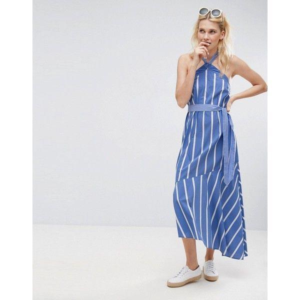 7ea4262bffd ASOS Halter Neck Maxi Dress in Mixed Cotton Stripe