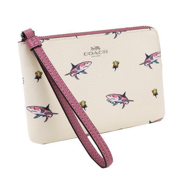 bde215ed55 AUTHENTIC COACH CORNER ZIP WRISTLET WITH SHARK ROSE PRINT