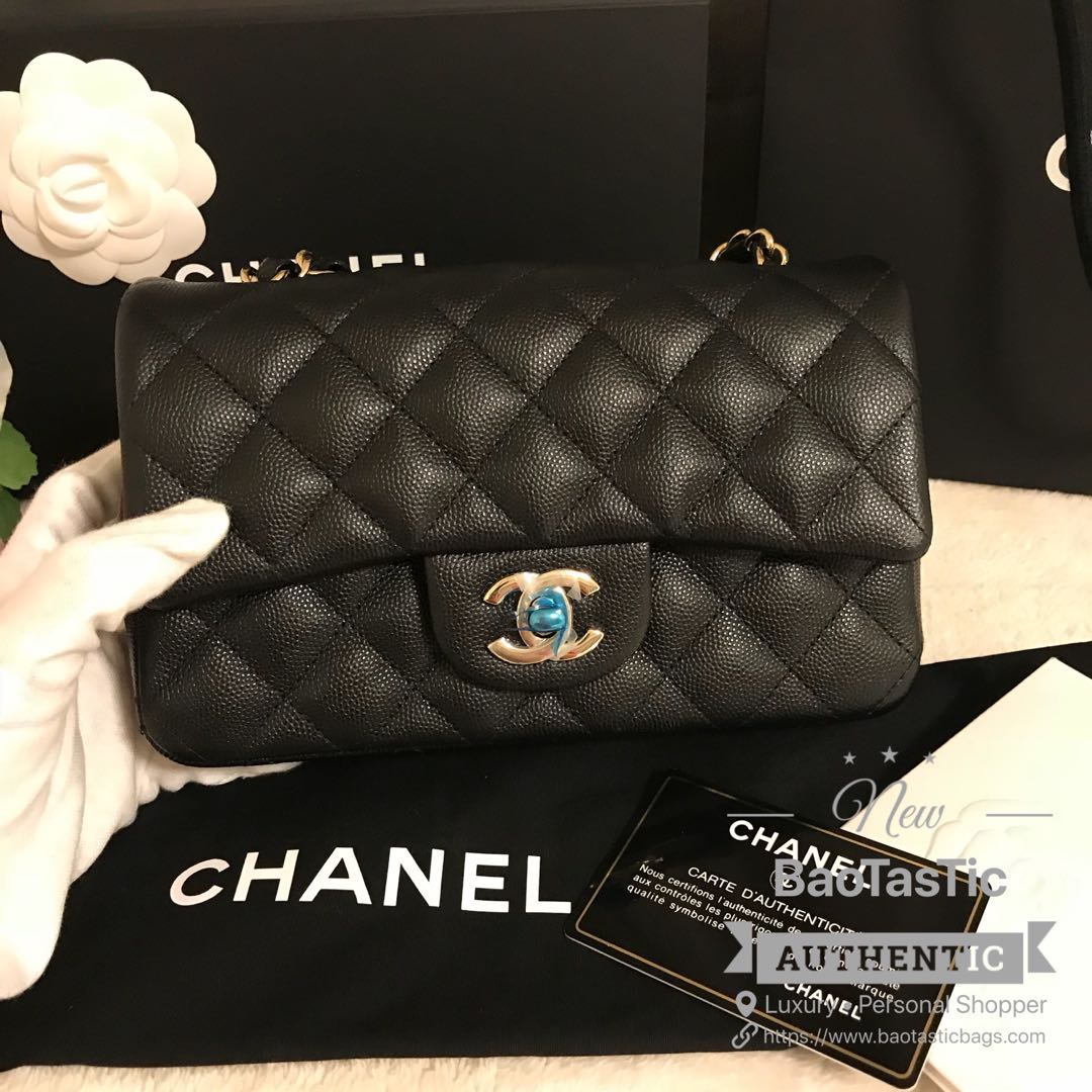 66594133cc01 BNIB Chanel 18B Rectangular Mini Black Caviar LGHW