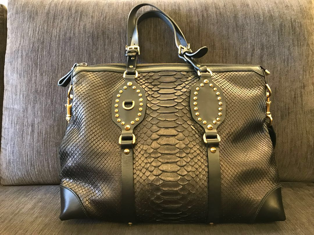 430e4fcbc6 Brand New Gucci Tote Bag in Exotic Black Snake Skin Leather