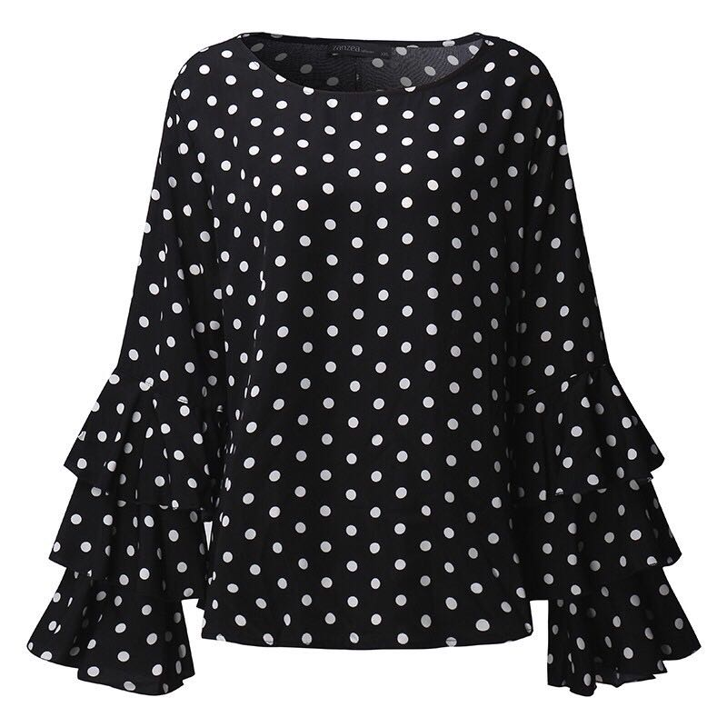 418b713d2f8e2 Brand New Instock Plus Size Polka Dots top with Bell Sleeve