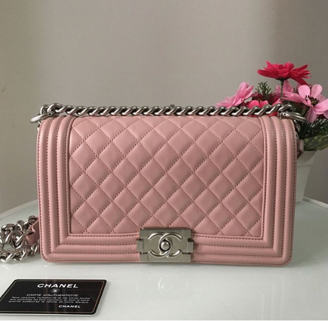 10effd0a Chanel baby pink boy, Luxury, Bags & Wallets, Handbags on Carousell