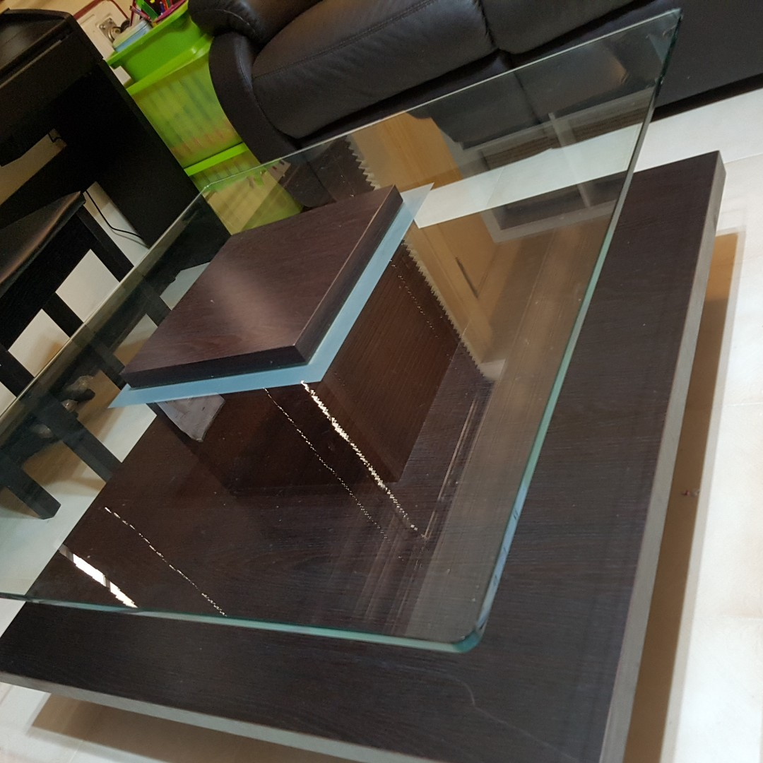 Coffee Table Wood With Thick Tempered Glass Furniture Tables
