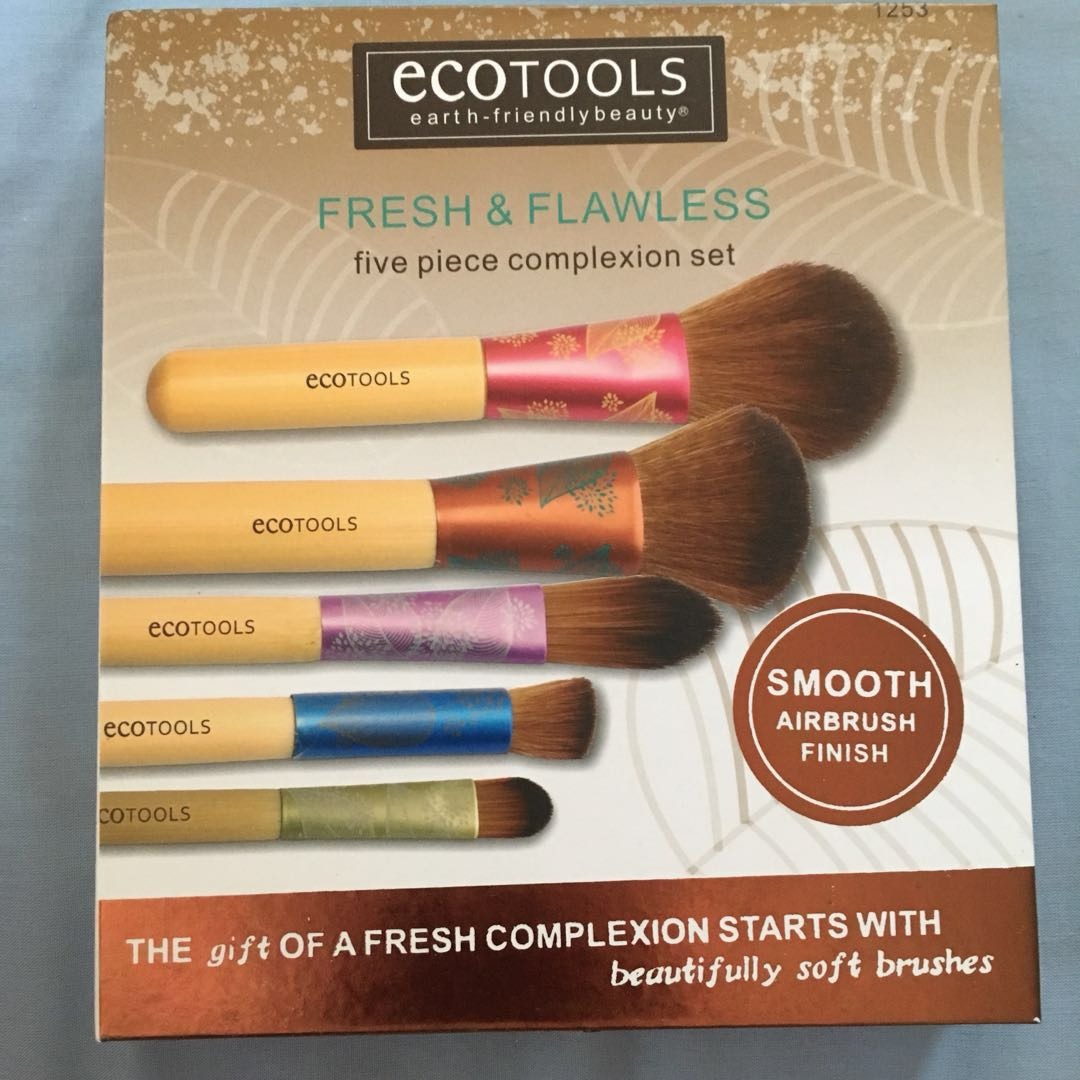 Ecotools Fresh And Flawless Complexion Set Preloved Health Beauty Eco Tools 1600 Full Powder Brush Makeup On Carousell