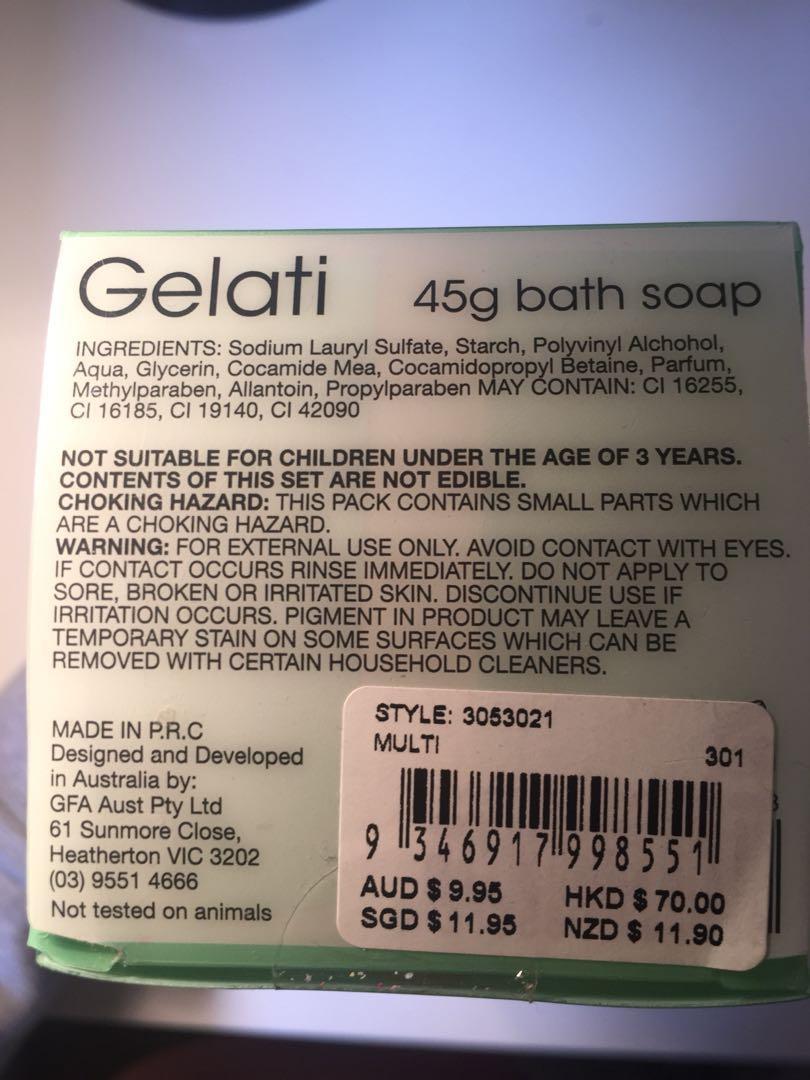 Gelati bath soaps