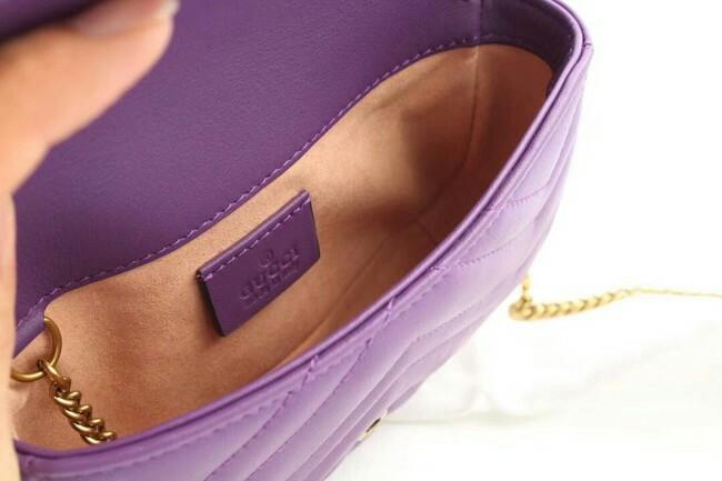Gucci GG Marmont matelasse leather super mini bag purple