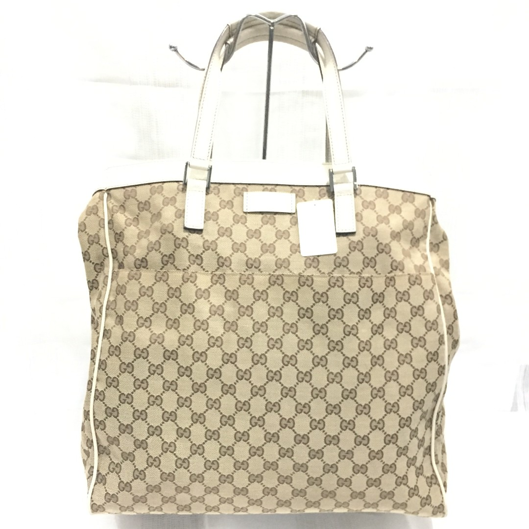 40ce8ff6aca Gucci GG Supreme Canvas and White Leather Tote Bag