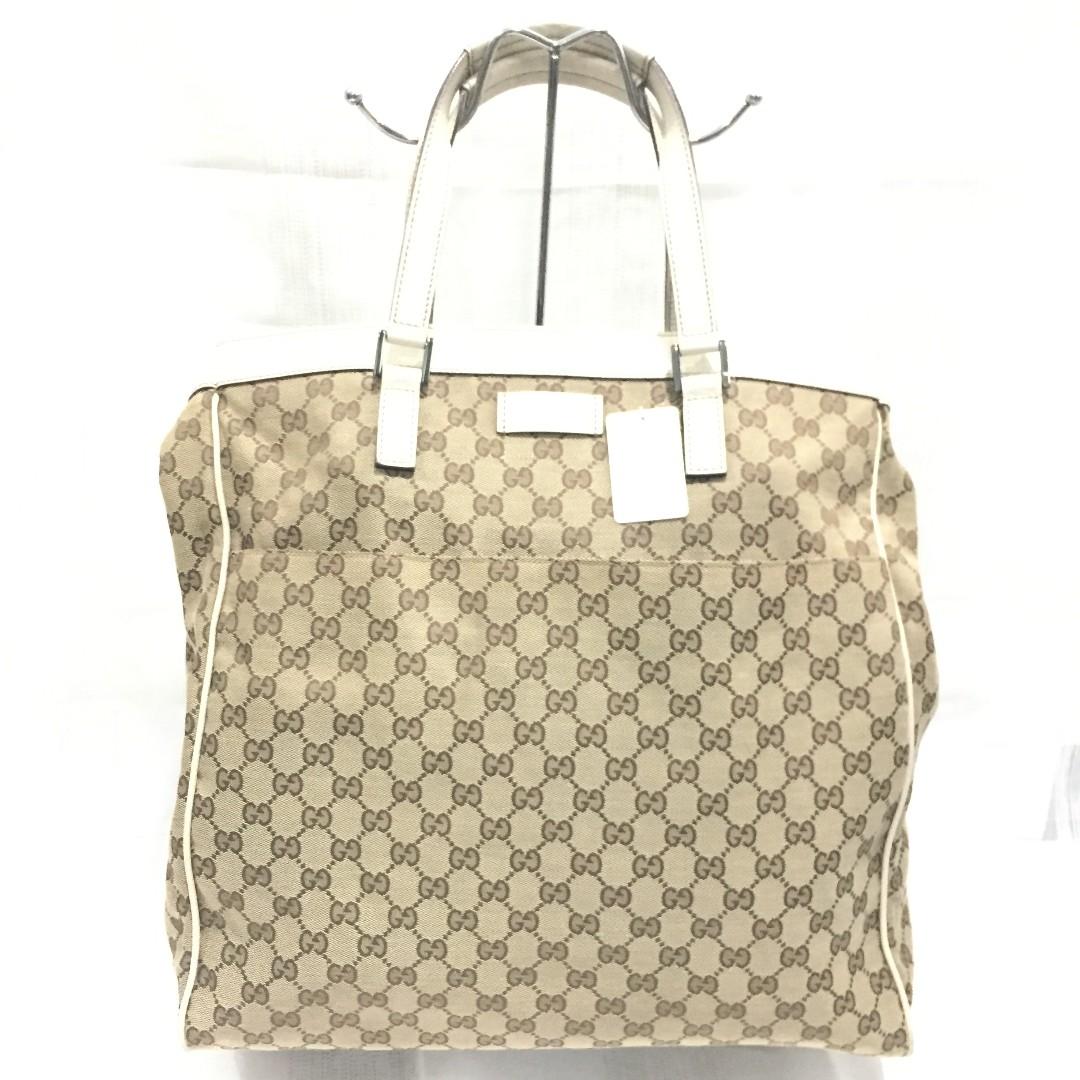 def447c8c8f Gucci GG Supreme Canvas and White Leather Tote Bag