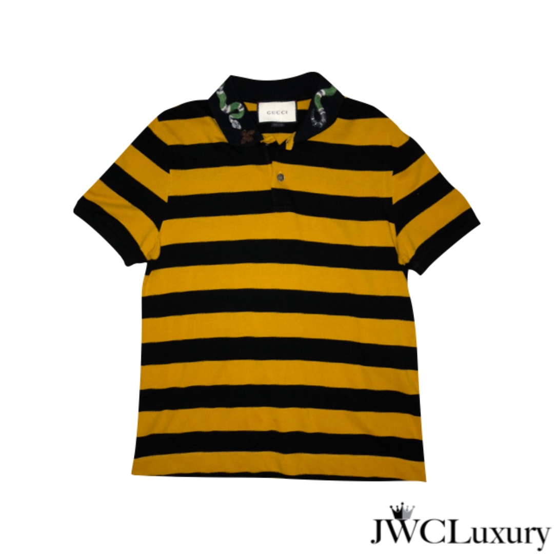 ec66564cd2f2 Gucci Polo Bumblebee with Embroidered Snake and Bee, Men's Fashion,  Clothes, Tops on Carousell