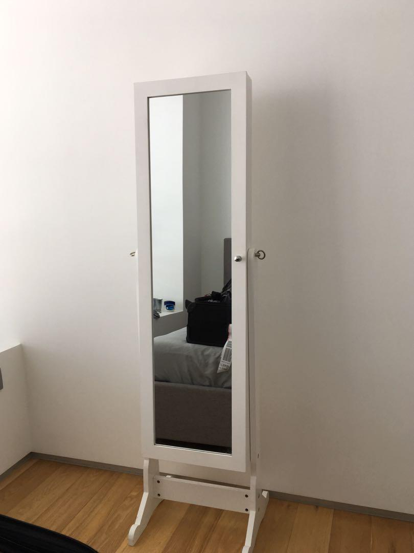 Ikea Standing Mirror With Storage White Furniture Others On Carousell