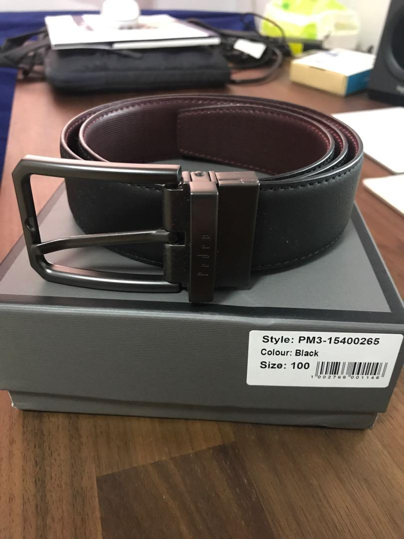 Pedro Reversible Belt   Black/Red-Brown   Fit up to waist 30