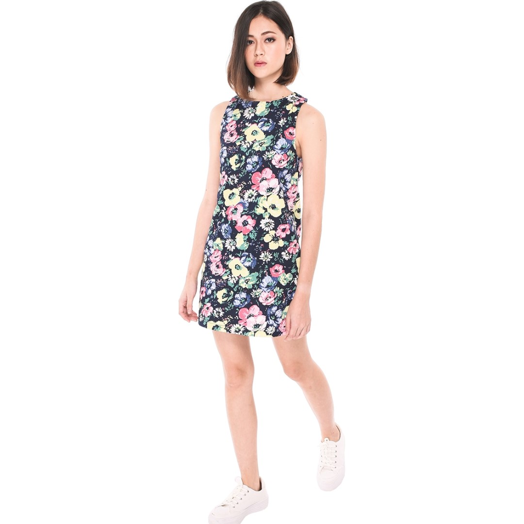 310cdecb8f08 Runway Bandit] Keia Floral Shift Dress - Navy Size L, Women's ...