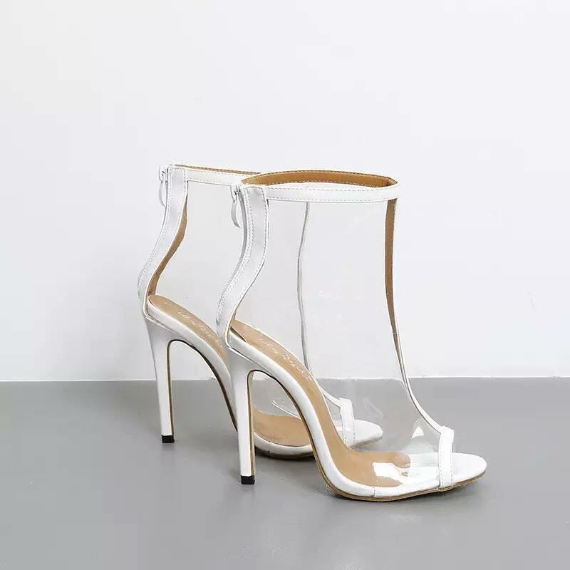 White Vinyl Transparent Ankle Boots