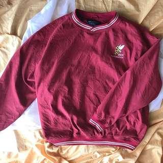Red embroidered bee pullover