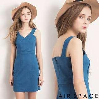 Air space 藍色V領合身洋裝