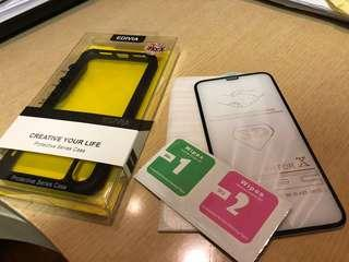 iPhone X/XS 出機必備 全屏手機玻璃mon 貼(防指紋) + 全保護手機殼